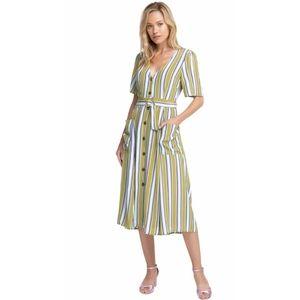 ASTR Scout Striped Viscose Midi Dress Miss Small